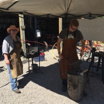 Jason and I doing a demo at the Rocky Mountain House Museum for International Blacksmith Day 2018